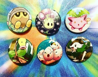 Choose Your Buttons - Set Of Six Grass Type Pokemon Buttons!