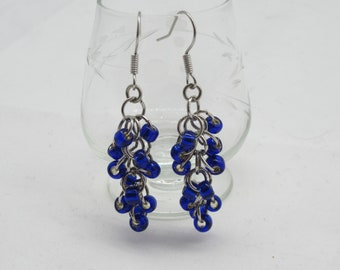 "Cobalt Blue Glass Beads with Silver Lining  - style: ""waterfalls"" FREE SHIPPING"