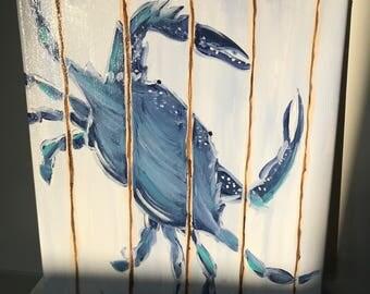 """Maryland Blue Crab - White Paneled Wood Background - 10""""x10"""" Canvas - Acrylic Paint"""