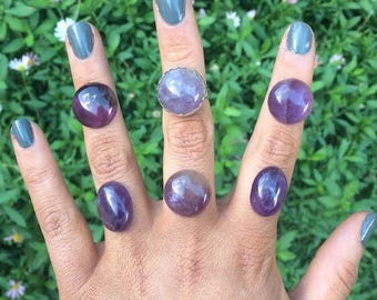 Silver Amethyst Ring / Sterling Silver Ring / Large Amethyst Ring / Big Amethyst Ring / Custom Amethyst / Statement Amethyst Ring