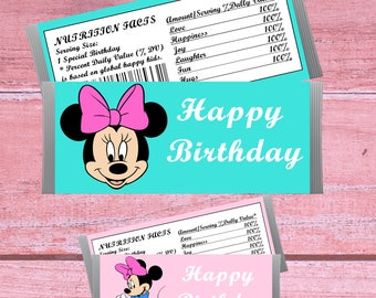 80% OFF SALE minnie mouse Candy Bar Wrappers, Chocolate Labels, minnie mouse Birthday Party, minnie mouse party favor, hershey wrappers