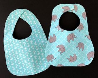 Baby Boy Bibs; Infant Bibs; Infant Bib Set; Reversible Bibs; Polkadot Infant Bib; Bandana Print Bib; Elephant Print Infants Bib; Baby Bibs