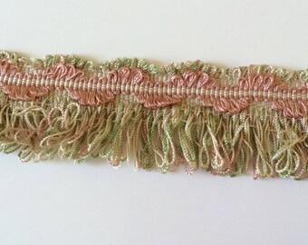 Green Pink fringe 4 cm wide for creation
