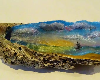 Oyster shells with handpainted seascapes
