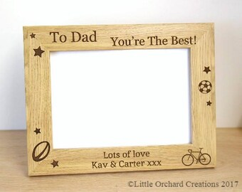 Personalised Photo frame, Father's Day Photo frame, Wooden Photo Frame, Dad Your'e the Best, Photo Frame, Personalised Gift for Dad, Dad