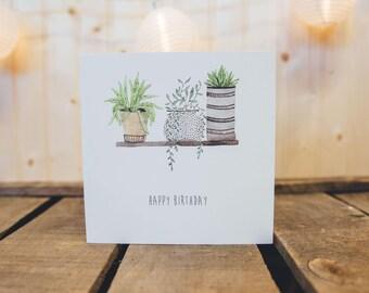 Happy Birthday | Mum | Grandma Cactuse Household Plants Greeting Card