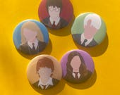 "Harry Potter Buttons 1"" small or 2.25"" large Hermione Granger Ron Weasley Luna Lovegood Draco Malfoy"