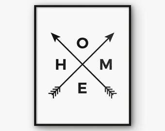 Home Arrow Print, Home Print, Home Arrow Wall Art, Home Arrow Poster, Black and White Home Printable, Tribal Arrow Print, Bedroom Print,