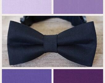 Purple Dog Bow Tie, Wedding Dog Bow Tie and Collar, Wedding Dog Bow Tie, Dog Collar, Black Dog Collar, Purple Dog Collar, #dog