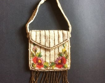 Vintage 30s 40s colourful dainty beaded evening bag, unusual design