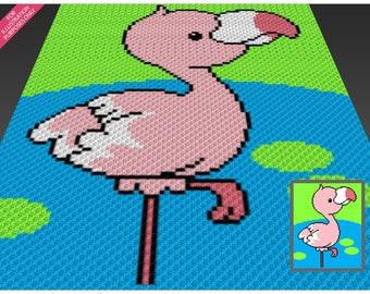 Pink Flamingo crochet blanket pattern; c2c, cross stitch; graph; pdf download; no written counts or row-by-row instructions