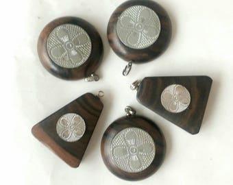 Genuine Ebony Wood Pendant Pack of 5