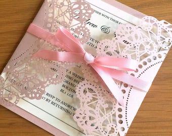 Pink Laser Cut Wedding Invitation, Laser Cut Wallet, satin ribbon, personalised, wedding stationery, engagement, wedding invite