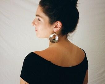 silver toned disc earrings