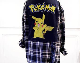 Pokémon flannel tee vintage Pokémon t shirt on new blue plaid flannel shirt unisex shown on men's large but can be made in s,m, xl or xxl.