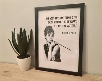 Audrey Hepburn Quote Black And White Framed Print