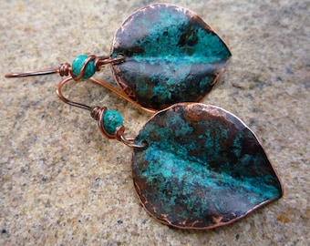 Verdigris copper leaf earrings, Turquoise earrings, Boho jewelry, Blue patina, Hammered copper, Fold-folrmed jewelry, Rustic earrings
