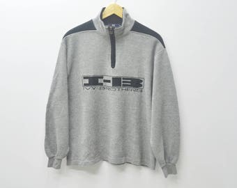 I-B Sweater Vintage 90s IVY-BROTHERS Sports spell out big logo Half Zipper Pull Over Sweatshirt jumper SIze M