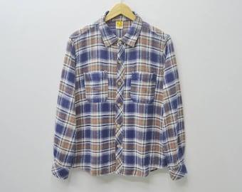 HANG TEN Shirt Vintage Hang Ten Checked design Hang Ten Tee Button Down Casual Hang Ten Women Size M