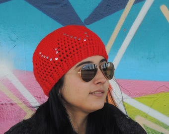 Red crochet beanie slouchy cap with sequins