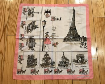 Vintage Paris Handkerchief/Scarf by Creation S.Franco Light pink and white coloring Notre Dame/Eiffel tower 19X20 France scarf/Shawl italy
