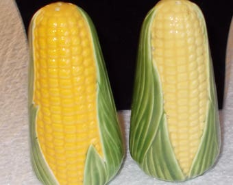 """Vintage """"Corn on Cob"""" Salt and Pepper Shakers 4 1/4 inches High...Glass"""