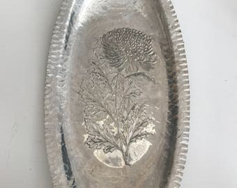 Vintage 1950's  Silverlook Tray with Floral Etching