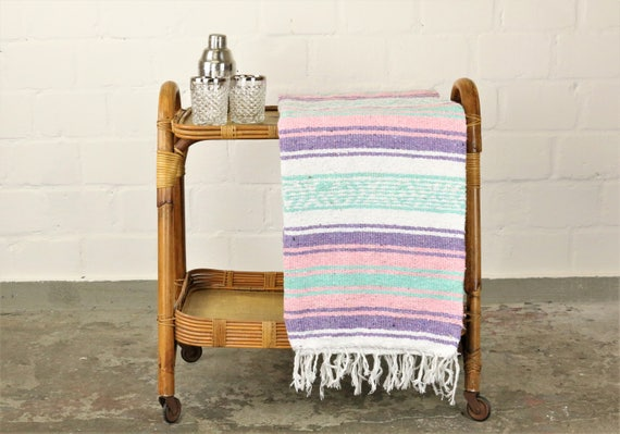 Solid woven Navajo blanket from Mexico Sarape 180 x 130 cm pastel shades
