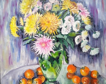 Original oil painting colorful floral still life Chrysanthemum, multi-color wall art, wall decor. Original artwork, botanical art