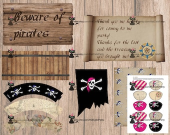 Expansion pack - blue and pink. Skull and crossbones pirate party printables