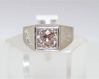 Men's Vintage 1.43ct Round European Cut VS1 J-K Diamond Ring Size 10