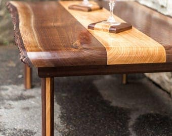 Live Edge Black Walnut and highly figured cherry coffee table