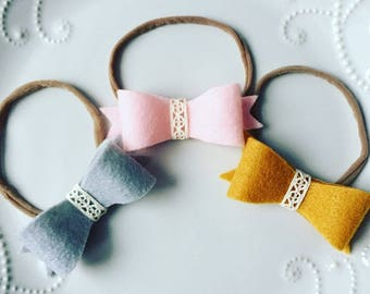 CiCi bow headband, felt bow, baby headband, hair accessory