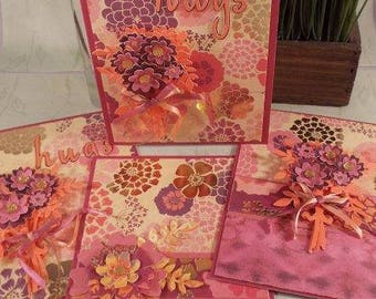 Floral Note Card Set of 4 – handmade note cards/blank inside for thank you notes, birthdays, or thinking of you - with matching envelopes