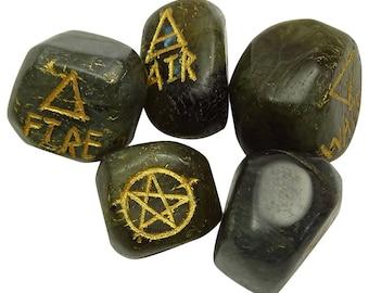 Set of 5 Elemental Quarter Labradorite Stone, Spiritual Gift Reiki Healing Crystal, Natural Gemstone With Gift Pouch  HCDR467N