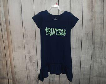 Girls Dress,Girls Dresses, Little girls dress, childs dress, size s/ch 6-6x, Navy Blue