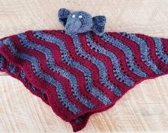 Crochet Elephant Lovey, Lovie, Blanket, Baby Blanket, Security Blanket