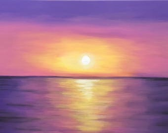 Handmade acrylic painting on canvas,sunset painting,abstract art,home decor