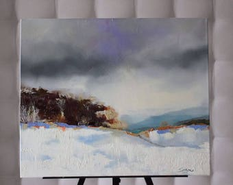 Picture on canvas Oil Paintings Abstract Winter landscape Winter thunderstorm