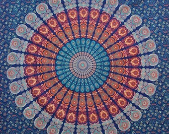 Mandala Tapestry Ombre Wall Hanging | Navy Blue Ombre Mandala Tapestry | Boho Hippie Tapestry | Ombre Tapestry Wall Decor Curtains