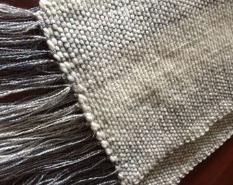 Scarf for Women Fall Accessory in Shades of Cream and Grey with Sparkling Wool for Christmas, Birthday or Special Occasion