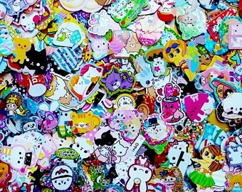Kawaii Sticker Flakes Grab Bag Cute 50 Pieces Crafting Journaling Gift Japanese Stationery - san-x Kamio Mind Wave Q-lia Crux