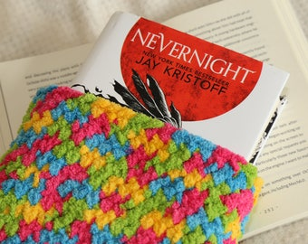 Rainbow book sleeve, book pouch, book cosy, kindle case, kindle sleeve, book buddy, book bag, crochet