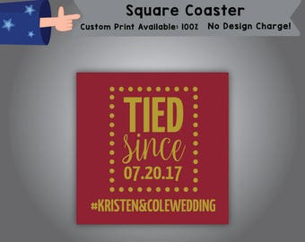 Tied Since Date Hashtag Square Coaster Wedding Single Side Print (C-W7)