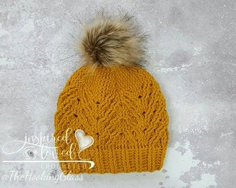 Slouchy hat, cabled, mustard yellow, faux fur pompom