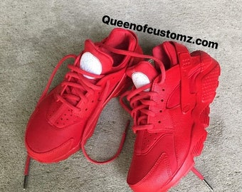 On Sale Fire Red Nike huaraches custom