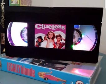 Retro VHS Clueless flashing Multicolour LED Lights Night Light Table Lamp. Great personal gift Order any Movie or Image with flashing Lights