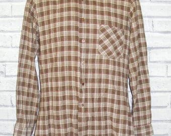 """Size M 40"""" vintage 80s long sleeve shirt slim fit brown check cotton (IC81)"""