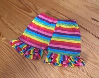 Rainbow ruffle shorts, rainbow shorties