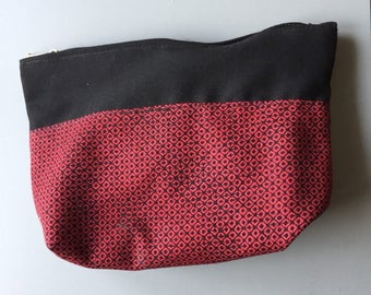 Japanese and fabric purse Pouch Black